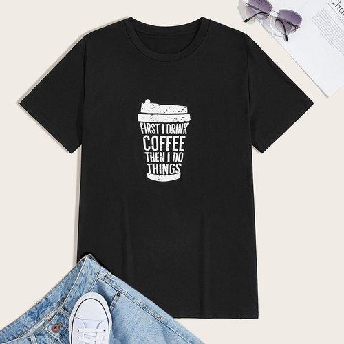 T-shirt avec col rond et imprimé slogan - SHEIN - Modalova