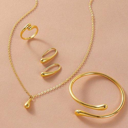 Pièces Collier avec détail de goutte d'eau & Boucles d'oreilles & Bague & Bracelet - SHEIN - Modalova