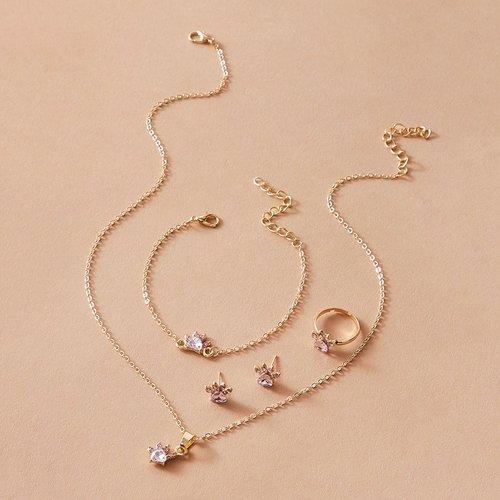 Pièces Collier avec strass & Boucles d'oreilles & Bracelet & Bague - SHEIN - Modalova