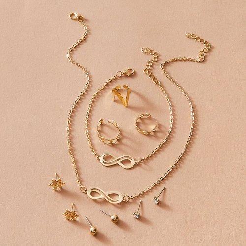 Pcs infini et strass gravé collier et boucles d'oreilles et bague et bracelet - SHEIN - Modalova