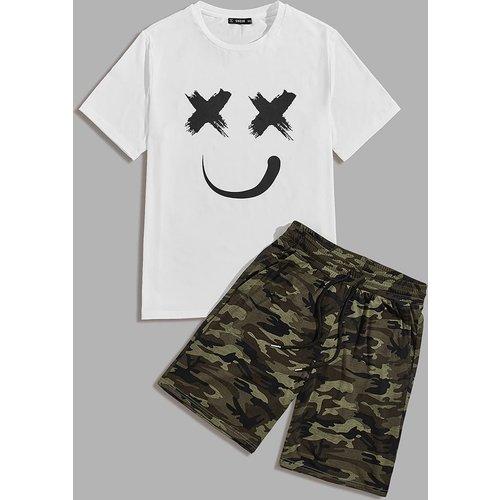 Ensemble t-shirt & short à imprimé - SHEIN - Modalova
