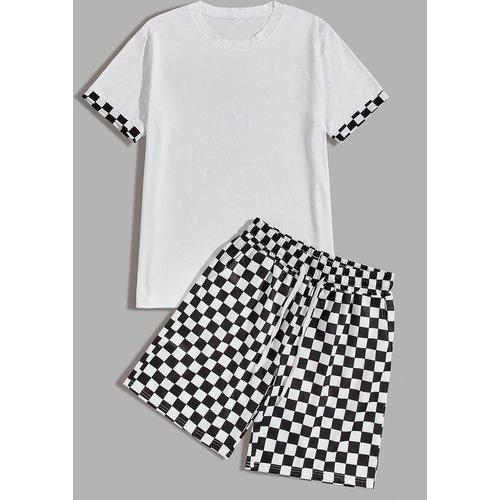Ensemble t-shirt & short à carreaux - SHEIN - Modalova