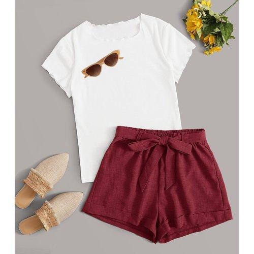 T-shirt & Short ceinturé - SHEIN - Modalova