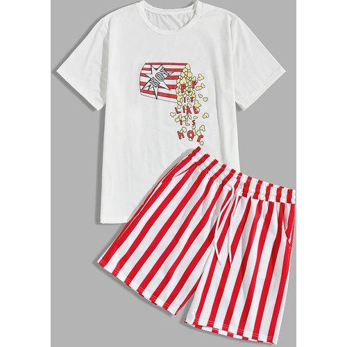 Ensemble t-shirt & short rayé - SHEIN - Modalova