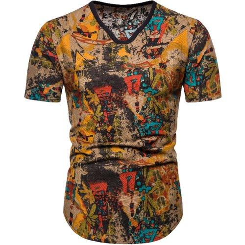 T-shirt à imprimé avec col en V - SHEIN - Modalova