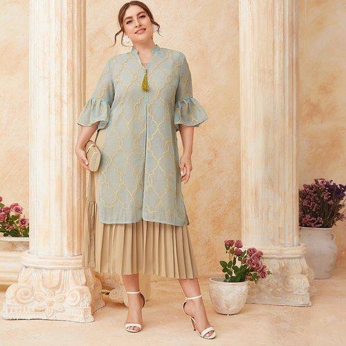 Robe plissée & tunique fendue - SHEIN - Modalova