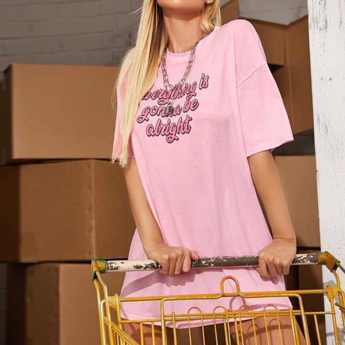 T-shirt long à imprimé - SHEIN - Modalova