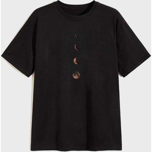 T-shirt avec col rond et imprimé - SHEIN - Modalova