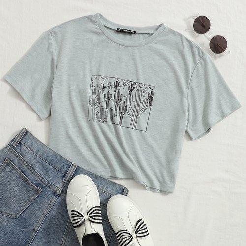 T-shirt col rond à imprimé - SHEIN - Modalova
