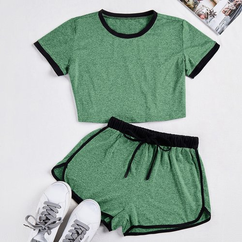 T-shirt chiné & short - SHEIN - Modalova
