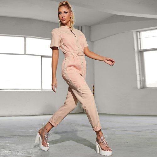 Combinaison ceinturée en jean - SHEIN - Modalova