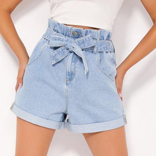 BLUES Short en jean ceinturé - SHEIN - Modalova