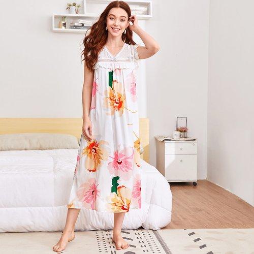 Chemise de nuit à imprimé fleur avec broderie anglaise - SHEIN - Modalova