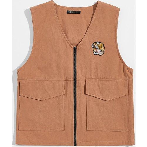 Gilet zippé avec poche et pièce à tigre - SHEIN - Modalova