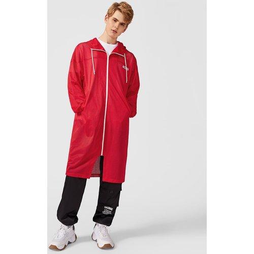 Manteau à capuche en tulle zippé avec cordon - SHEIN - Modalova
