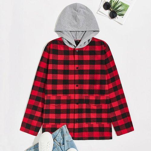 Manteau à capuche à carreaux avec boutons - SHEIN - Modalova