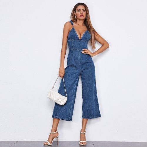 Combinaison en jean dos-nu ample - SHEIN - Modalova