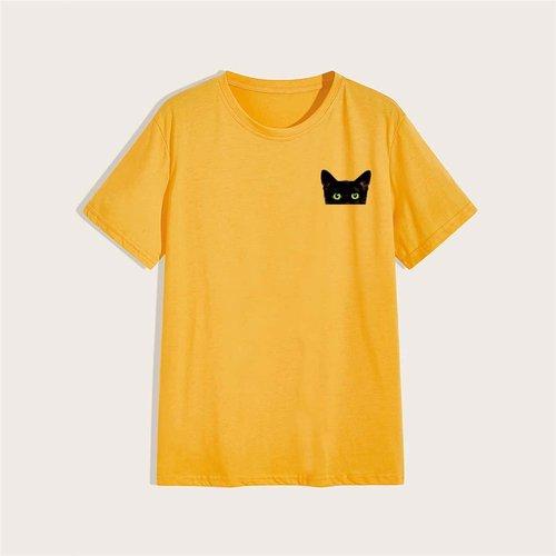 T-shirt avec col rond et imprimé chat - SHEIN - Modalova