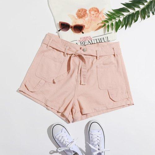 Short ample en jean ceinturé - SHEIN - Modalova