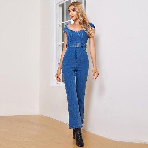 Combinaison en jean ceinturée dos-nu avec encolure de cœur - SHEIN - Modalova
