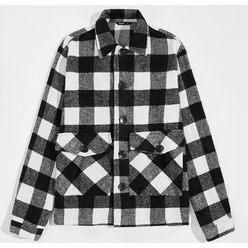 Manteau à carreaux - SHEIN - Modalova