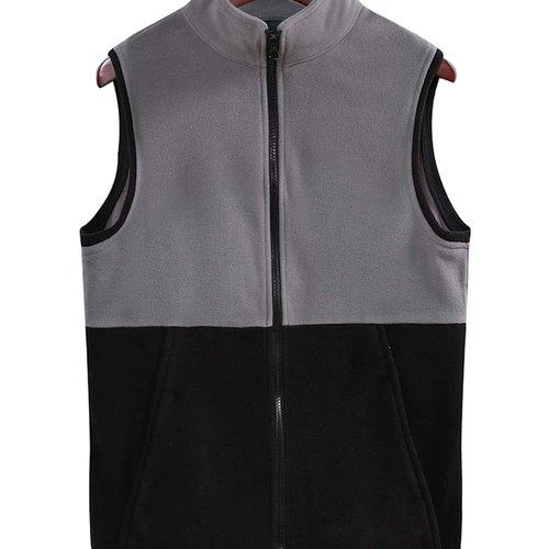 Manteau sans manches bicolore zippé - SHEIN - Modalova
