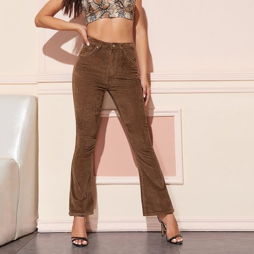 Pantalon bootcut taille haute en velours côtelé - SHEIN - Modalova