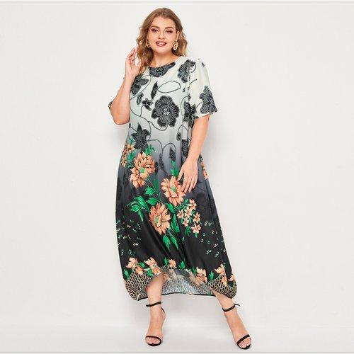 Robe tunique asymétrique fleurie dégradée - SHEIN - Modalova