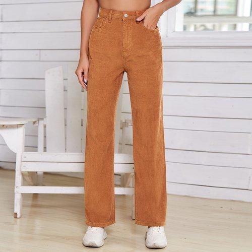 Pantalon droit en velours côtelé taille haute - SHEIN - Modalova