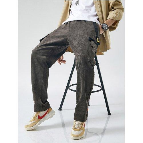 Pantalon cargo en velours côtelé à imprimé lettres - SHEIN - Modalova