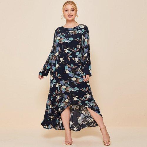 Robe tunique asymétrique à imprimé - SHEIN - Modalova