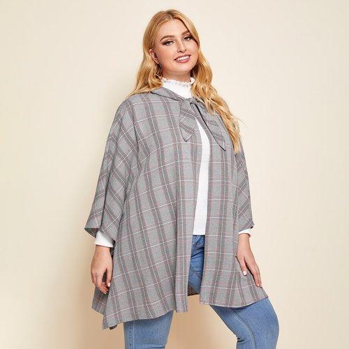 Manteau cape à carreaux avec nœud - SHEIN - Modalova