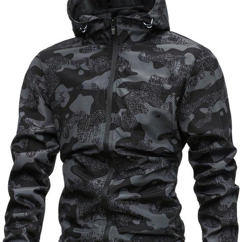Blouson coupe-vent à capuche à imprimé camouflage - SHEIN - Modalova