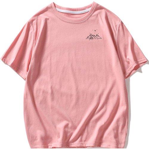 T-shirt à imprimé montagne avec col rond - SHEIN - Modalova