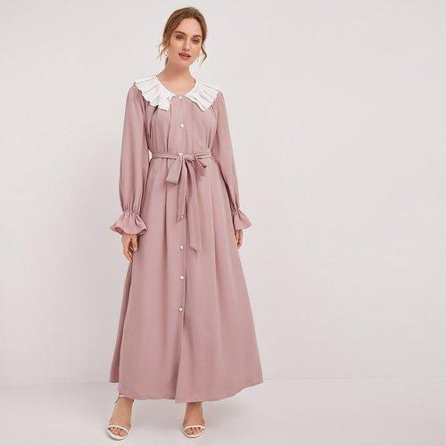 Robe chemise avec col claudine et ceinture - SHEIN - Modalova