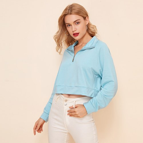 Sweat-shirt court zippé - SHEIN - Modalova