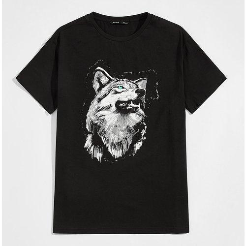 T-shirt à imprimé loup avec col rond - SHEIN - Modalova