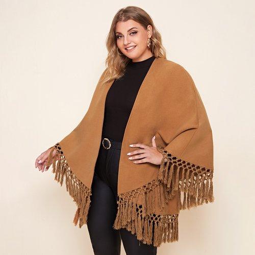 Manteau cape avec franges - SHEIN - Modalova