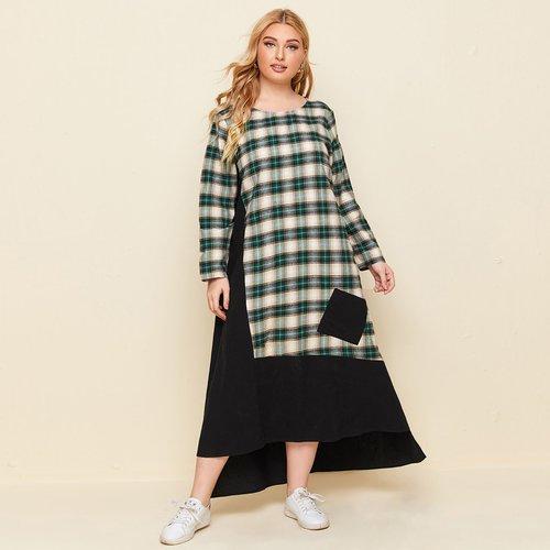 Robe tunique asymétrique à carreaux - SHEIN - Modalova