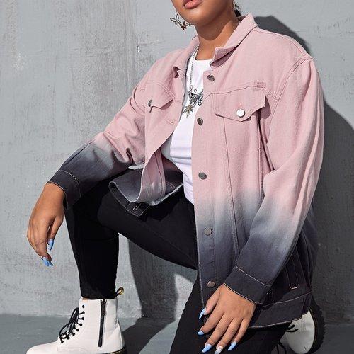 Blouson en jean dégradé - SHEIN - Modalova