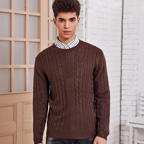 Pull en tricot torsadé - SHEIN - Modalova
