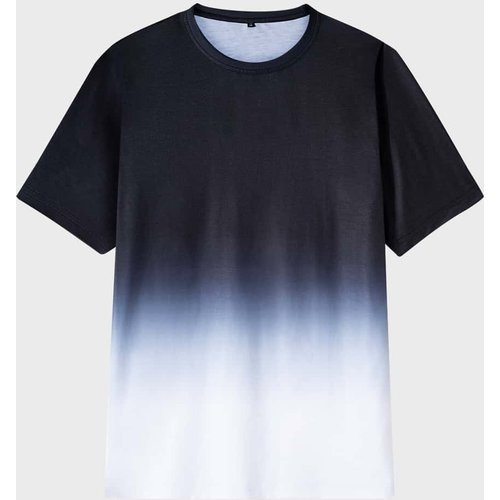 T-shirt à imprimé dégradé avec col rond - SHEIN - Modalova