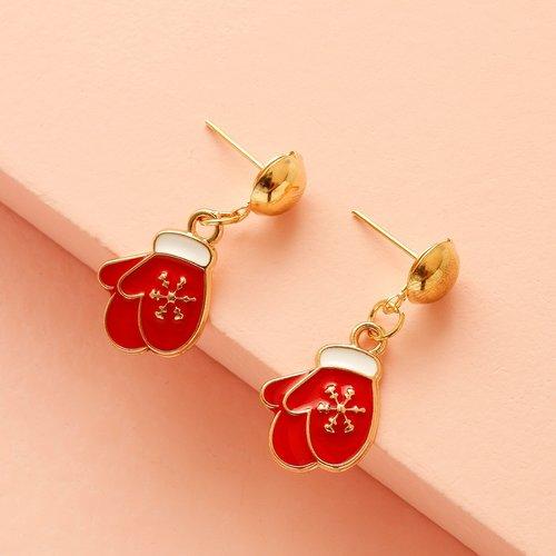 Paire Pendants d'oreilles design gant de Noël - SHEIN - Modalova