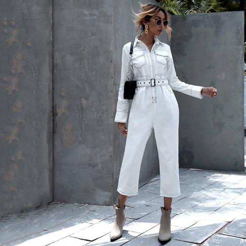 Combinaison en jean ceinturée - SHEIN - Modalova