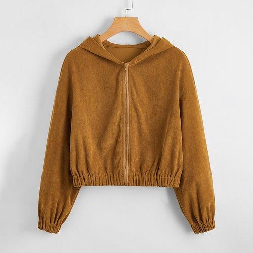 Veste à capuche zippée courte - SHEIN - Modalova
