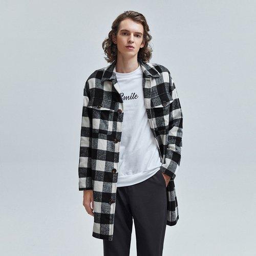 Manteau à carreaux avec poches et boutons - SHEIN - Modalova