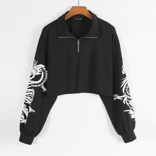 Sweat-shirt court zippé à imprimé dragon - SHEIN - Modalova
