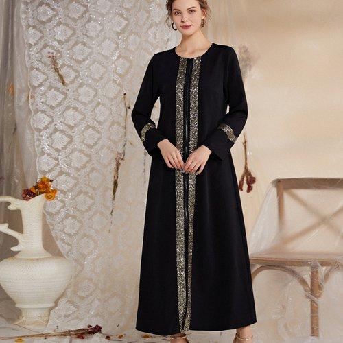 Manteau long zippé à sequins - SHEIN - Modalova