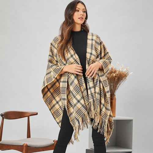 Manteau cape à carreaux avec franges - SHEIN - Modalova
