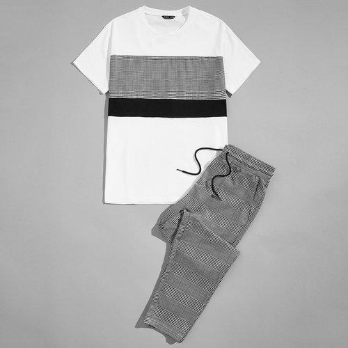T-shirt & Pantalon à carreaux - SHEIN - Modalova